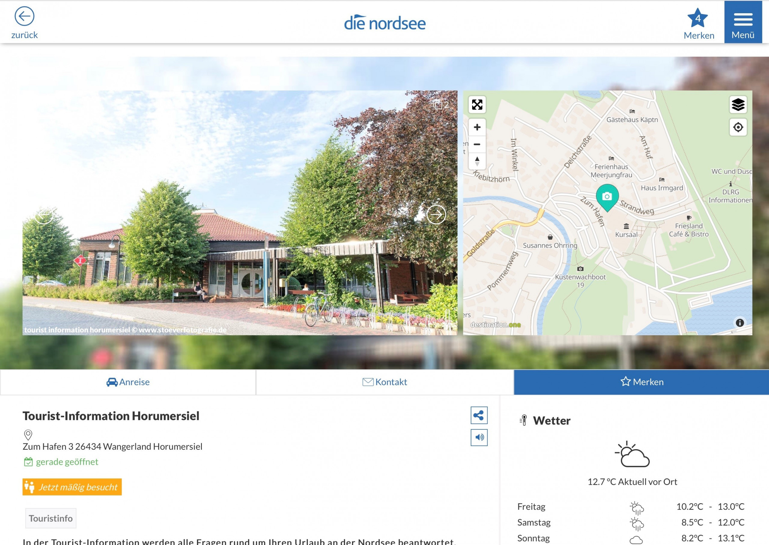 Screenshot Besucherlenkung im Wangerland