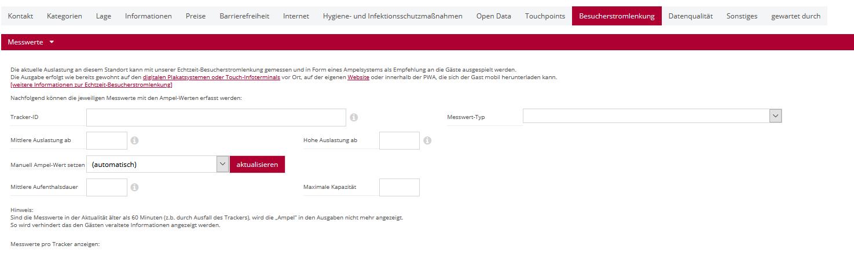 Screenshot Besucherstromlenkung im Niedersachsen Hub