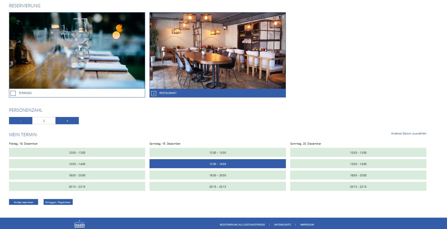 Screenshot Reservierungssystem Ostfriesische Inseln Norderney